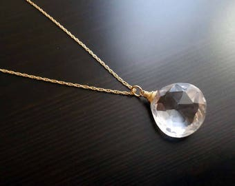 Quartz Necklace, Wire Wrapped, 14kt Gold Filled