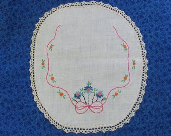 Vintage Hand Embroidered and Crocheted Blue Floral Oval Doily