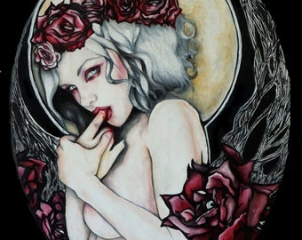 In the Garden - Archival Art Print 8x10 or 12x16 inches Pin Up girl Tattoo Art Gothic Art Nouveau Lowbrow Fantasy Vampire Sexy Illustration