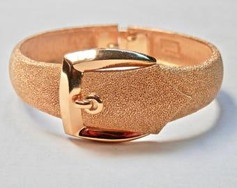 Vintage Crown Trifari Gold Buckle Clamper Bracelet Textured Gold Tone Signed Vintage Designer 1960s Belt Buckle Costume Jewellery