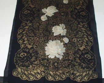 Vintage Scarf Long Black Roses  Retro Fashion Head Scarf Neck Purse Kerchief Scarf Accessory