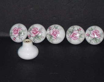 Vintage Hardware Handles Pulls Knob Drawer Door Cabinet Furniture Pulls sm Ceramic Pink Rose DIY Woodworking