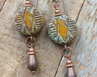 Orange earrings, Southwestern jewelry, boho earrings, copper jewelry, Czech glass earrings, geometric earrings,