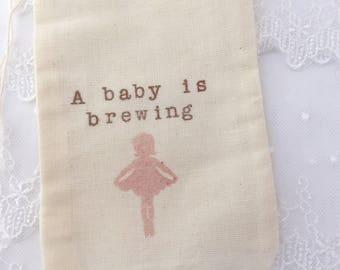 Ballerina Tea Party Favor Bags Baby Shower Baby is Brewing Muslin Bags Set of 10