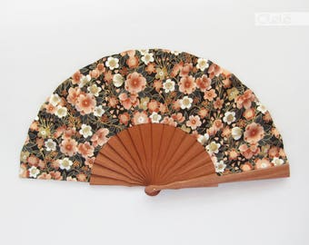 Hand held Spanish fan with case - Sakura and Ume blossoms - black with gold - Cherry and plum flowers japanese wedding fan - Spanish summer