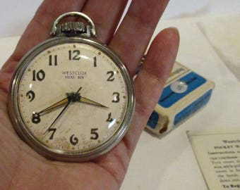 Westclox Pocket Ben Mech-Winding Pocket Watch w/ BOX USA