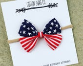 Patriotic Collection - American flag Small |Cali bow| Baby or toddler nylon headband or clip
