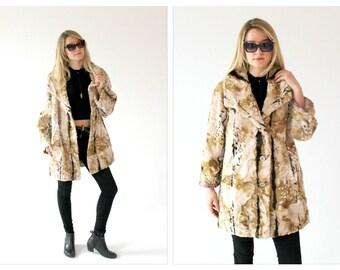 1970s Multicolor Faux Fur Coat- Vintage Velvet, M/L,  Marbled, Mottled Velvet, Oversized Chic Jacket