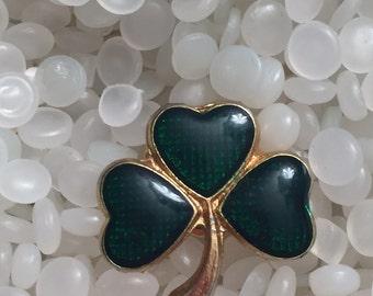 vintage brooch, scatter pin,Green Guilloche Enamel Faux Pearl 3 Four Leaf Clover Scatter Lapel Pin