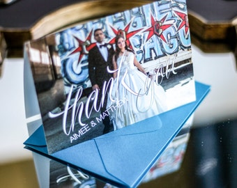"""Folded Wedding Thank You, Photo Thank You Card, Script Thank You, Grey and Blue - """"Sweeping Script"""" Folded Photo Thank You Cards - DEPOSIT"""