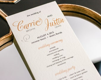 "Orange and Grey Wedding, Modern Wedding Programs, Bridal Party Program, Event Program - ""Modern Swirl and Flourish"" Flat Program - DEPOSIT"