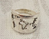 Custom Sterling Silver World Map Ring