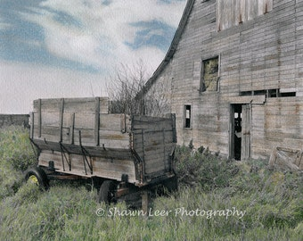 Hand painted photograph Rustic Barn & Wagon