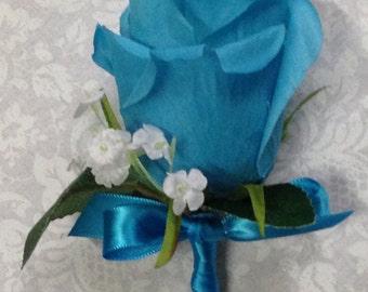 New Silk Malibu Boutonniere, Malibu Bout, Malibu Buttonhole, Malibu Lapel Flower