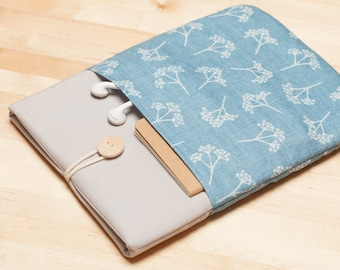 iPad case, iPad Air sleeve,  iPad Pro cover, iPad 9.7 case,  iPad 10.5 case  - Blue floral