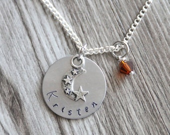 Moon Gifts Necklace Jewelry, Moon Star Necklace, Girl Moon Necklace, Girl's Necklace, Hand Stamped Necklace, Initial Necklace, Birthstone