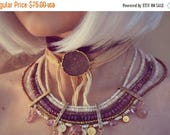 MOTHERS DAY SALE Silk Wraps /// Gemstone Druzy Bracelet, Choker, Arm Band, Necklace or Headband /// 24kt Gold Electroformed