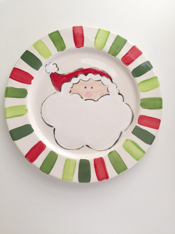 Hand painted Santa dinner plate, Santa's cookies plate, Christmas dinner plate, Painted holiday plate, Santa Claus plate for kids