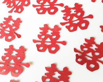 100 Pieces - Double Happiness Hand Punched Confetti - Perfect for Weddings, Showers and Anniversaries