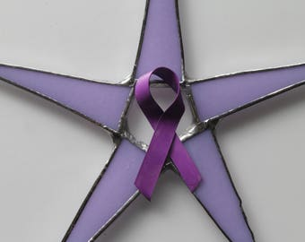 Survivor Star -  7inch pink or purple art glass star, breast cancer ribbon star, cancer survivor star.
