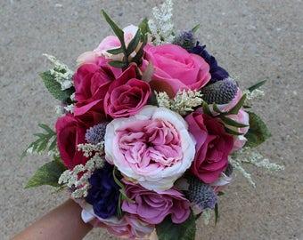 Pink, Lavender, Purple Silk Flower Bouquet, Bridal, Floral, Wedding, Bridemaid, Boutonniere, Faux, Garden Rose, Elegant, Rustic, Vintage