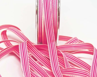 Striped Grosgrain Ribbon -- 3 / 8 inches -- Raspberry Cream 3 yds