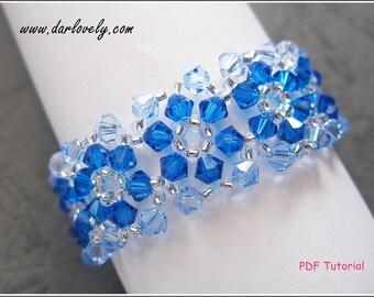 Beaded Bracelet Pattern - Blue Flower Bracelet (BB015) - Beading Jewelry PDF Tutorial (Digital Download)
