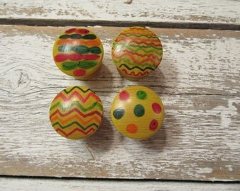 4 Hand Painted Wood Knobs One of A Kind Only Set Available Small Art Yellow Multicolor Knobs Hardware Round Farmhouse Cottage B-5
