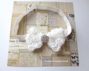 White Baby Headband, Newborn Headband, Infant Headband, Girl Hair Bow, Toddler Headband, White Baby hair bow, baby head band flower