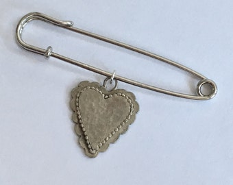 HEARTS FOR CHARITY: Large Silver Scalloped Heart Sweater pin/Brooch and Pendant, 50% of sales price goes to charity (safetypin project)