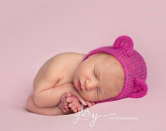 Bear bonnet, mohair bear bonnet, newborn photo prop, baby bonnet, infant bonnet, baby boy, baby girl, newborn bonnet, photo prop, bear hat