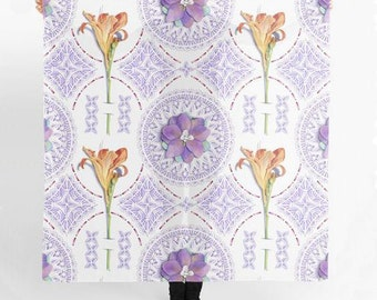 Pretty Lilac Orange Floral Scarf Chiffon 55 inches square Victorian Lace Gothic Revival watercolour textile pattern by artist Patricia Shea