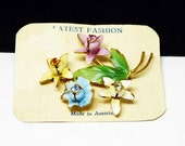 Vintage Enamel Flowers - 1940s Made in Austria Rhinestone Flower Bouquet - Pink Yellow  White & Blue Floral Pin - European Austrian Crystals