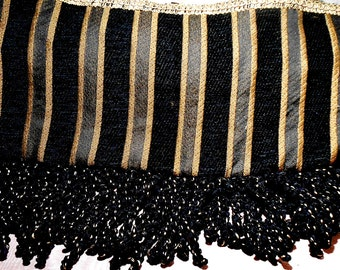 Fabric Vintage Fringe Opaque Design Black Gold French Remnant
