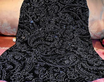 Vintage Fabric Black With Silver Glitz Steampunk Costume Gorgeous