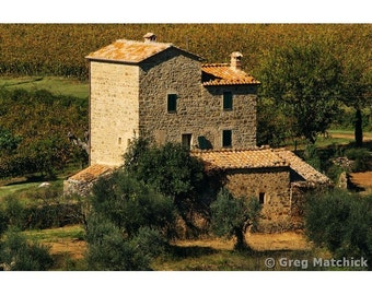 Fine Art Color Landscape Photography of Old Stone Mill in Tuscany