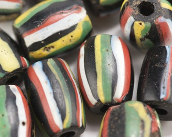 Antique Black Striped African Trade Bead