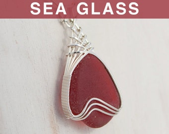 Large Red Sea Glass Pendant