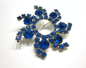 "Vintage Swirling Round Blue Rhinestone Brooch Vintage Pin 2"" Gift for Her Gift for Mom Gift Idea Under 15"