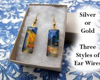 Van Gogh Cafe Terrace earrings, Van Gogh earrings, small glass earrings, blue and yellow earrings, Cafe Terrace Arles