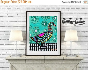 50% Off Today- Duck Art Poster Print of Painting Bird Animal Folk Art Abstract