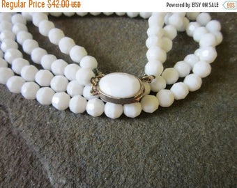On Sale 1960s Necklace. Double Strand White 60s Necklace
