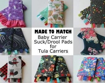 Baby Carrier Suck/Drool Pads - For Tula Carriers (Bot Boy, Frolic, Maze, Prance, Shine, Jack & more) - Choose Straight, Curved, and Ruffles