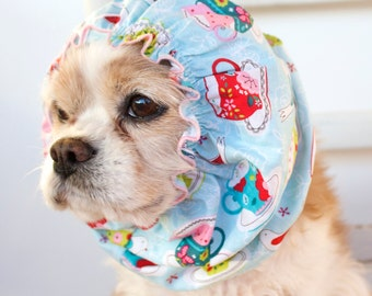 Fancy Teacup Dog Snood, Cotton Long Ear Coverup, Cavalier King Charles or Cocker Snood, Shabby Chic