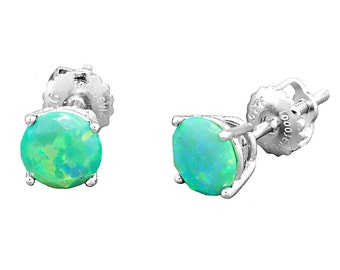 6mm created Kiwi Green Opal Diamond Cut Faceted Screw Back Stud Earrings, Margarita, OKG-6mm-DFSB925