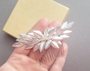 Silver Leaf Hair Comb, Silver Bridal Hairpiece, Bridal Headpiece, Silver Wedding Hair Comb, Silver Vine Hair Pin, Leaf Vine Hair Piece