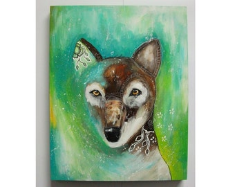 Original wolf painting whimsical boho mixed media art on wood panel 11x14 inches - Positively changing