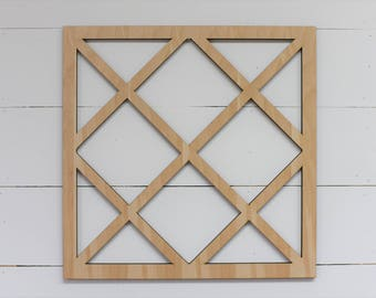 Unfinished Vintage Inspired 24x24 Square Lattice Window Frame Wood