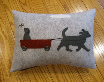 Wool Applique Puppy Dog Pillow / Out for a Walk