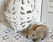 Vintage Cast Iron Egg Shaped Candle Holder ~ Chippy White Shabby Garden Decor ~ Easter